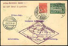 60/Zeppelin Brasilien 1930 Südamerikafahrt MiF Postkarte Lorch LZ 127 Si 59 A