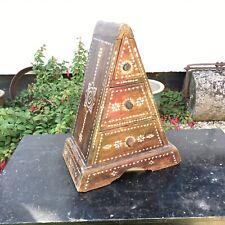 Unusual Pyramid Shaped Chest of Drawers Tribal Boho Shell Inlaid