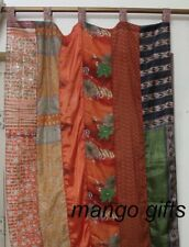 Indian Old Sari Multi-Color Curtain Door Drape Window Decor Silk Saree Curtain