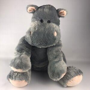 """Toys R Us Gray Hippo Plush Hippopotamus Large 14"""" Floppy Stuffed Animal"""