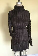 Vintage Rare Azzedine Alaia Chenille Mini Dress Chocolate Brown Color size Xs