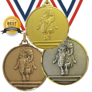 SHOW JUMPING EQUESTRIAN BRASS MEDAL 52mm BEST QUALITY, FREE RIBBON, 3 COLOURS,