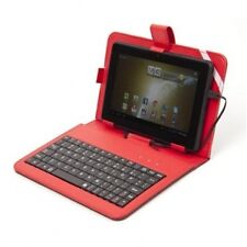 "CUSTODIA TABLET 7"" + TASTIERA IN PELLE ROSSA"