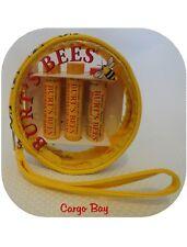 NEW BURT'S BEES 3 PACK BEESWAX LIP BALM & WRISTLET FREE SHIPPING