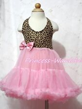 Leopard Print with Light Pink ONE-PIECE Petti Dress Tutu Girl Pettiskirt 2-8Year