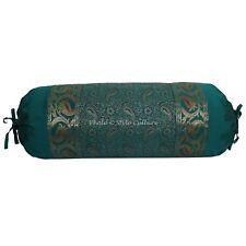 "Brocade Green Bolster Pillow Case Cover Cylinder Cushion Cover Silk Neck 30"""