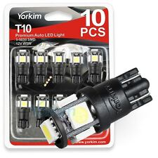 Yorkim 10 Pcs 6th White T10 Wedge 5-SMD 5050 W5W 2825 158 192 168 194 LED Light
