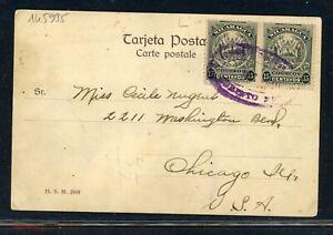 Nicaragua Postal History: LOT #19 1910 30c Picture Postcard CORINTO - CHICAGO $$
