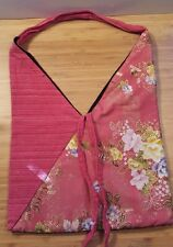 HANDMADE INDIA FABRIC PATCHWORK SMALL TOTE BAG SHOPPER PINK FLORAL V SHAPE TOP