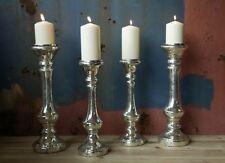 1 Antique Silver Candlestick Candle Holder. Mercury Glass - Small Nkuku Dema