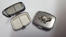 Birman Cat PP-C05 English Pewter Emblem on a Rectangular Travel Metal Pill Box