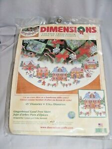 NEW Dimensions Gingerbread Land CHRISTMAS Tree Skirt counted cross stitch 8670