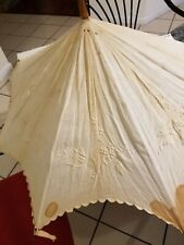 "Victorian Vintage Parasol with Embroidered Linen Eyelet from 1900's .36"" tall."