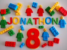 EDIBLE Construction CAKE TOPPERS Cupcake NUMBER MEN BLOCKS & NAME Lego Colours