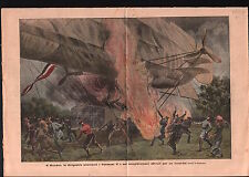 Fire Airship dirigible aerostat Perceval V Hann.Munden Germany 1911 ILLUSTRATION