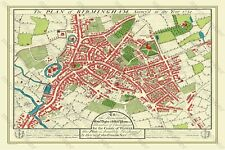 "OLD MAP OF BIRMINGHAM 1731 BY WILLIAM WESTLEY  30"" x 20"" PHOTOGRAPHIC PRINT"