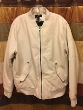 Men's H&M Ivory White Zip-up Bomber Jacket with Quilted Lining. US Size Large