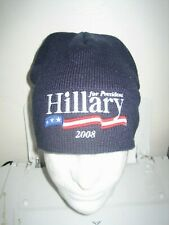 RARE Hillary Clinton for president 2008 winter toque beanie hat adult blue