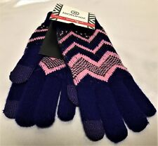 Isotoner Smart Touch Womens Gloves Blue Pink Knit Zig Zag Smartouch Texting