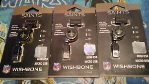 Android Micro Mini USB phone Charger Power NFL New Orleans Saints cord wire