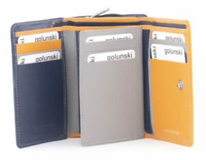Golunski leather trifold purse Style 883 M9  Col Navy/Gry/Must   Multi RFID  New