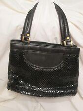Black Metal Mesh Satchel Purse Handbag Two 2 compartments Medium