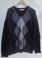 Old Navy V-Neck 100% Cotton Black/Gray Men's Sweater Size-XL