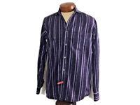 Bugatchi Uomo Mens Button Down Long Sleeve Shirt No Size Tag (M) Purple Striped