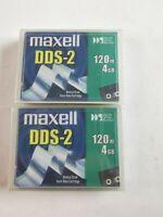 Maxell DDS-2 120min 4GB Set Di 2 Cassette Dati / Nuovo