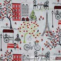 BonEful Fabric FQ Cotton Quilt White Red Bike Flower French Country Eiffel Tower