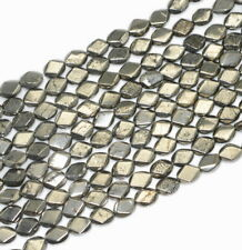 """8X6MM PYRITE GEMSTONE FACETED DIAMOND LOOSE BEADS 15.5"""""""