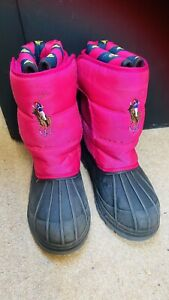 Genuine Ralph Lauren Polo Girls Black/pink Snow Winter Boots Size UK 1, EU 32