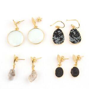 Lot 4 Pc Sale ! Opalite Quartz snow fall Harkimar Diamond Gold Plated Earrings