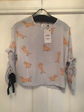 BNWT Short top dog polka dot print white black tan drawstring sleeve size 10 €70
