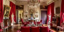 2 Grands Rideaux Rouge Rubis Antique Ancien France