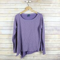 LEFT OF CENTER Women's Woven Back Long Sleeve Blouse Top S Small Purple
