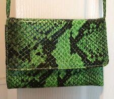Green faux snake print purse