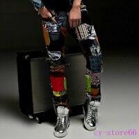 Punk Mens Denim Pants Trousers Patchwork Floral Jeans Slim Fit Skinny Nightclub