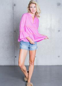 Emily van den Bergh modische Bluse Pink 100% Baumwolle Mode NEU