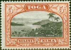 Tonga 1943 5s Black & Brown-Red SG82 Fine & Fresh Mtd Mint