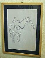 """DISEGNO a CHINA su carta  """"Nudo Femminile"""" di RENATO GUTTUSO (1911-1987)"""
