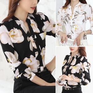 Women Dress Shirt Long Sleeve Floral Chiffon Blouse Office Lady Top C2UK