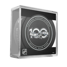 NHL Centennial Shield 100th Anniversary On Ice Game Hockey Puck With Cube