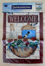 """New listing Impressions Mini Garden Flag """"Chickadee Welcome"""" 12.5 x18"""" New in Package Birds"""