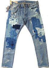 New Ralph Lauren Polo Brixton Wash Sullivan Slim Patch Repaired Jeans sz 36 x 32