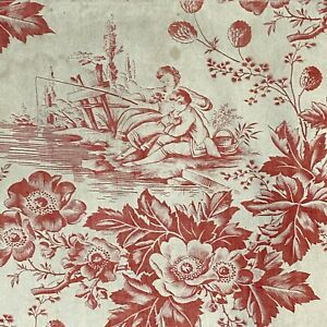 Antique romantic French toile fabric fishing scene floral fabric material