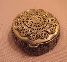 antique ornate gold plated filigree makeup powder compact trinket pill box case