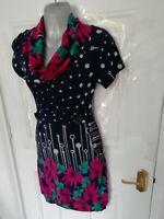 TENKI Size 10 (M/L) Navy Blue White Pink Floral Spot Soft Stretchy Jumper Dress