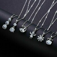 Snowflake Cat Owl Crystal Stone Pendant Necklace Silver Chain Womens Jewellery
