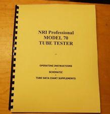 Ultimate MANUAL & 2 SETUP CHART for NRI-70 Tube Tester new remastered document
